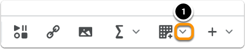 Click onthe downward arrow next to the table icon
