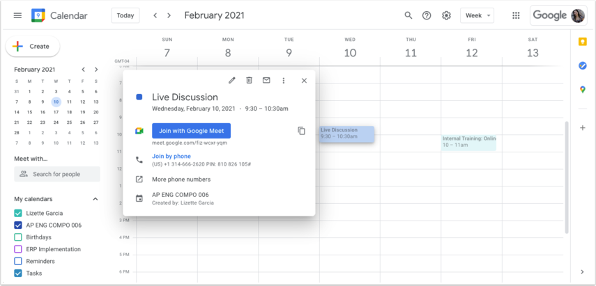 Focus School Software - Calendar - Week of February 7, 2021
