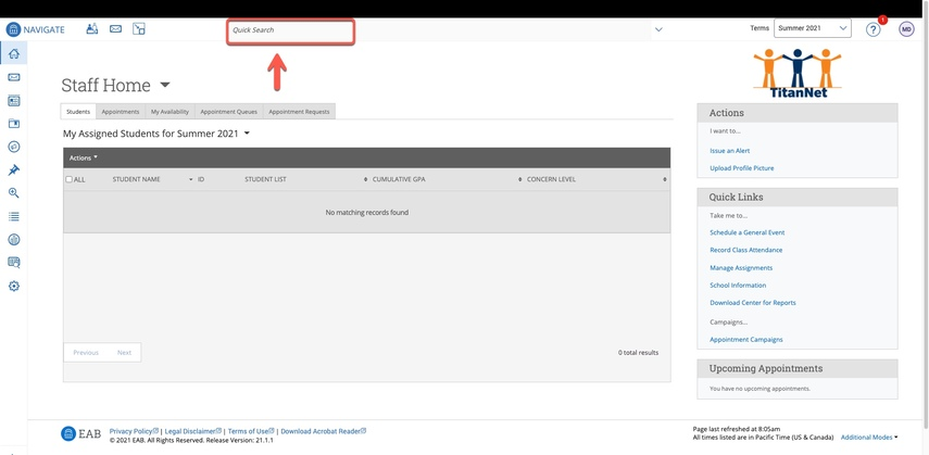 Arrow pointing to the Quick Search field