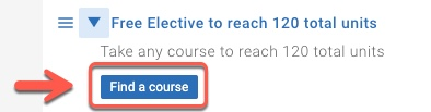 Arrow pointing to Find a course button