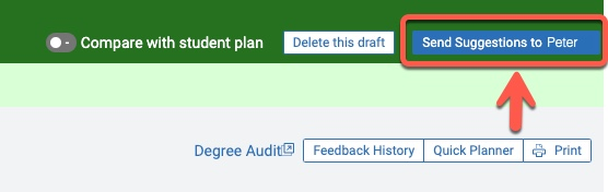 Arrow pointing to Send Suggestions to [student] button