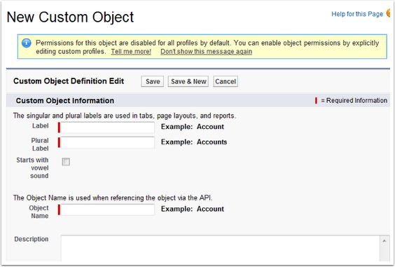 New Custom Object Creation Page