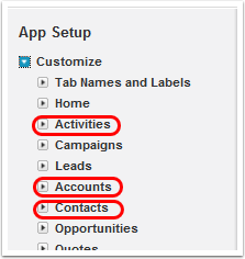 To customize: Accounts, Contacts, OR Activites in the system