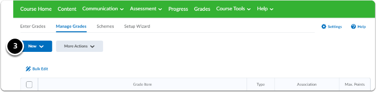 In the Manage Grades homepage, click on the blue button New, a drop-down menu will appear