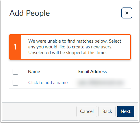 We were unable to find matches below. Select any you would like to create as new users. Unselected will be skipped at this time.