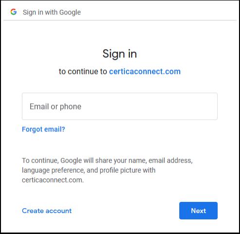 Enter Google Credentials