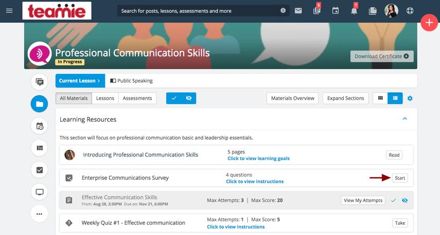 (7) Materials | Professional Communication Skills | Teamie Next