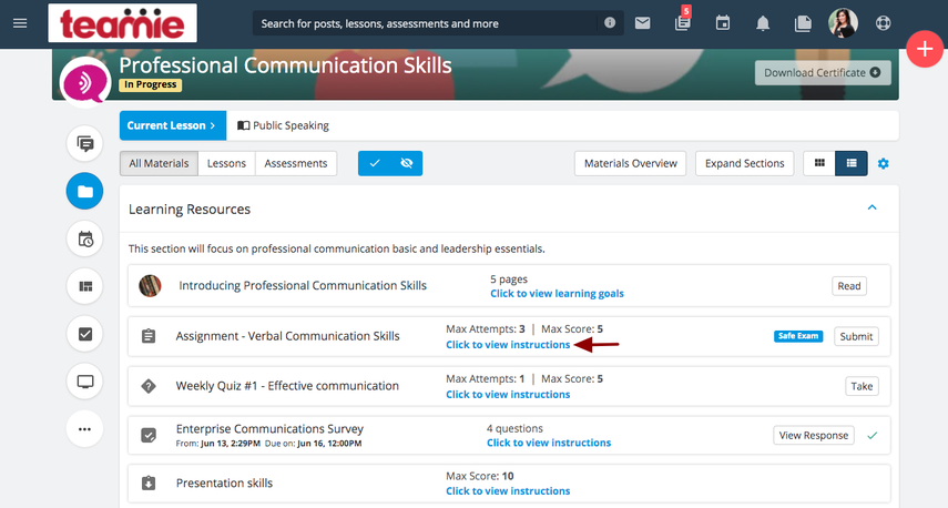 Materials   Professional Communication Skills   Teamie Next