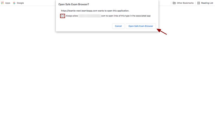 Open Safe Exam Browser?