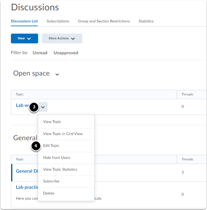 In the discussion homepage, in the Discussions list click on the downward arrow next to the discussion topic, a drop-down menu will appear click on Edit Forum