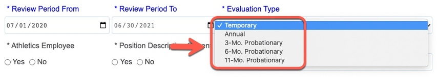 Arrow pointing to Evaluation type options