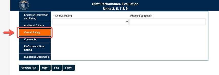 Arrow pointing to Overall Rating tab