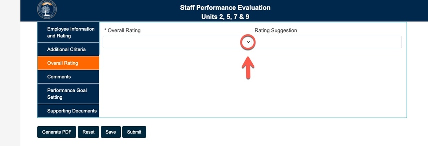 Arrow pointing to Overall Rating drop-down caret