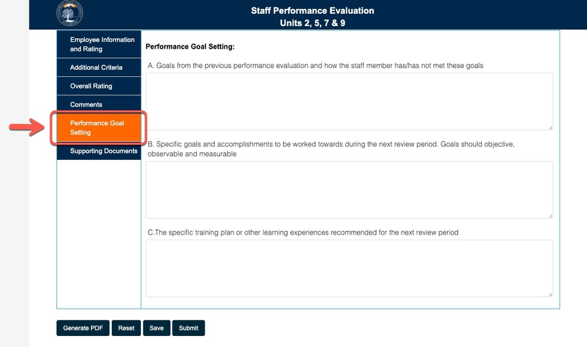 Arrow pointing to Performance Goal Setting tab