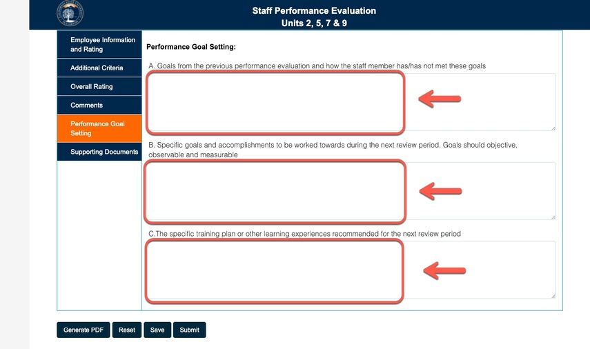 Arrows pointing to performance goal setting fields