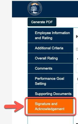 Arrow pointing to Signature and Acknowledgement tab