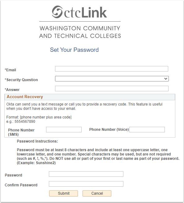 Set Your Password/Account Recovery page