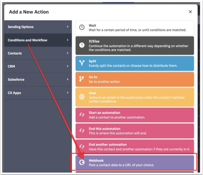 Add a New Action modal