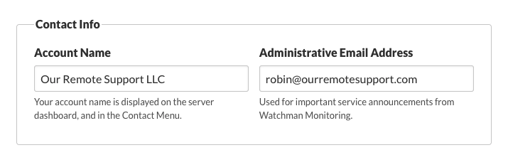 Contact Info | Account Name Administrative Email Address
