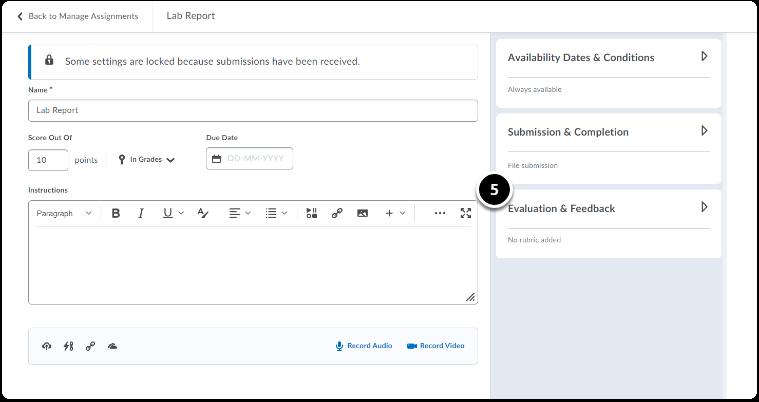 Click on Evaluation & Feedback