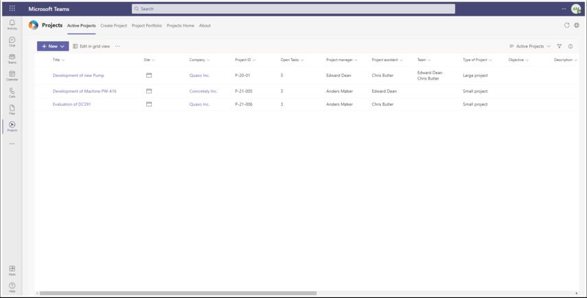 Projects   Microsoft Teams - Google Chrome