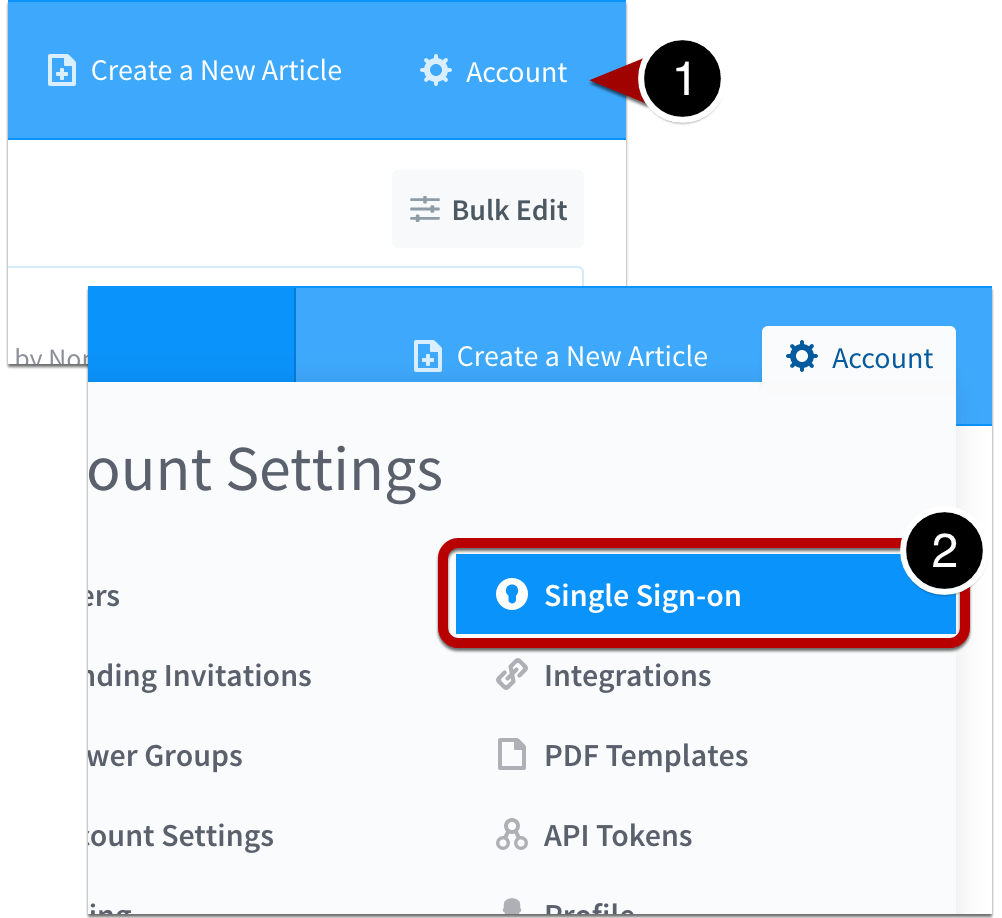 Navigate to account's single sign-on