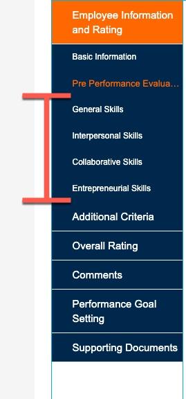 Tab highlighting skills sections