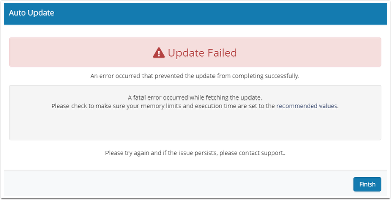 A fatal error occurred while fetching the update