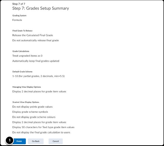 Grades Setup Summary, click on finish