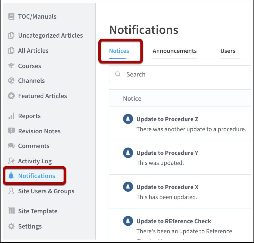 Notifications | Academy | ScreenSteps