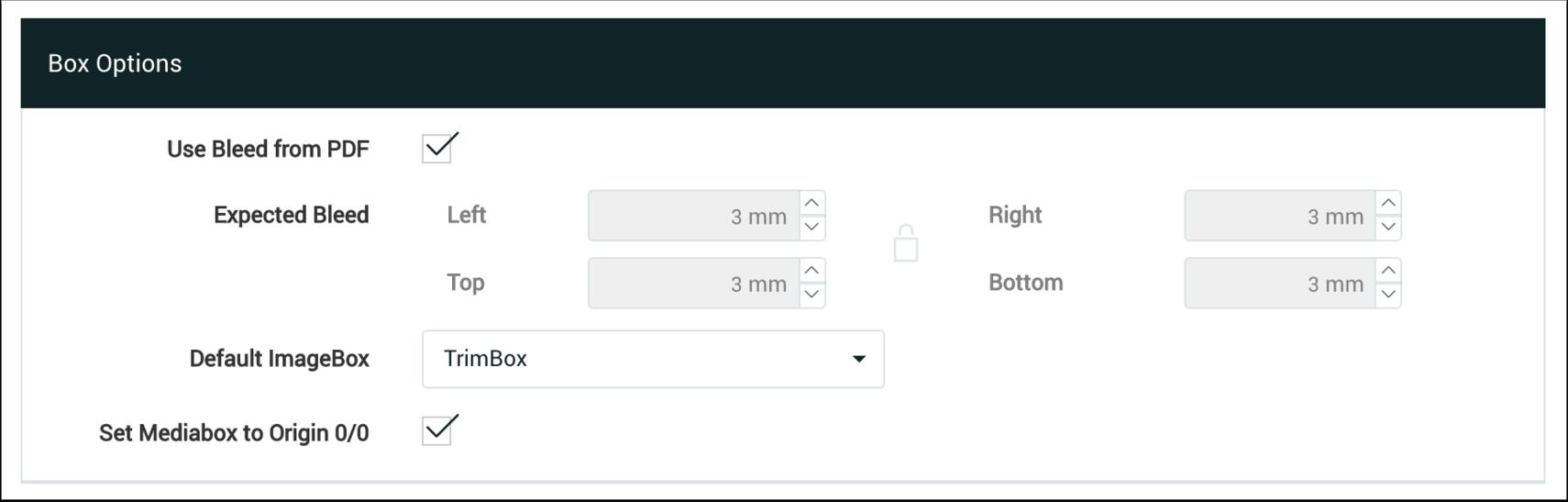 Box Options
