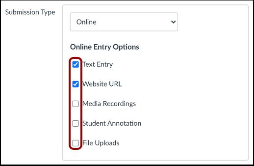 Online invoeropties selecteren