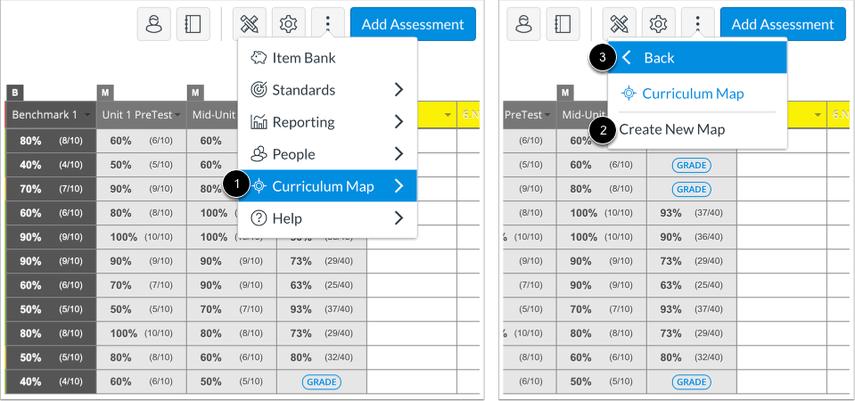 Navigate to Curriculum Map Menu