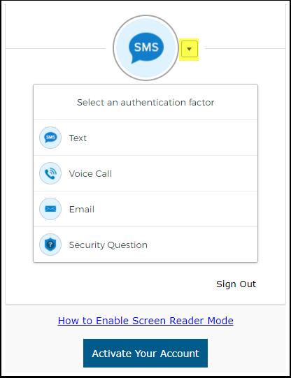 select an authentication factor dropdown menu