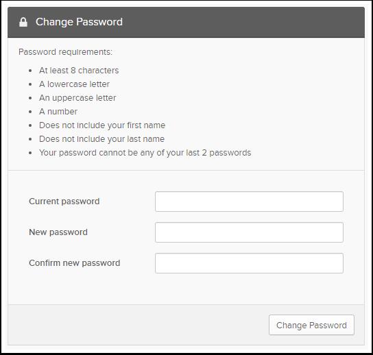 Change Password box