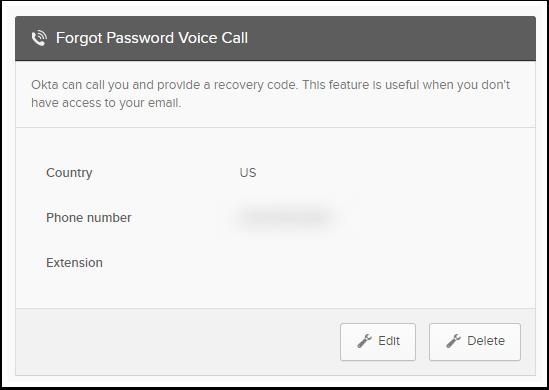 Forgot Password Voice Calle Edit button