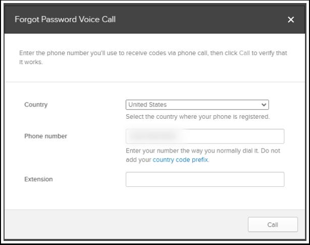 Forgot Password Voice Call - Call button
