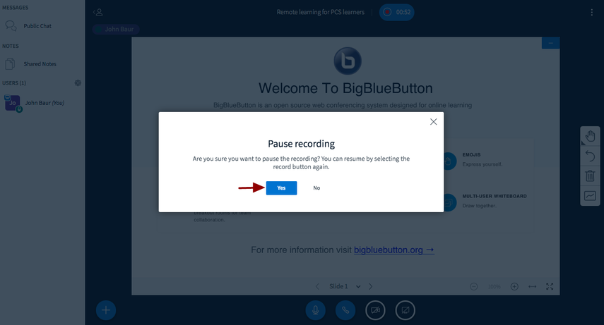 BigBlueButton - Remote learning for PCS learners