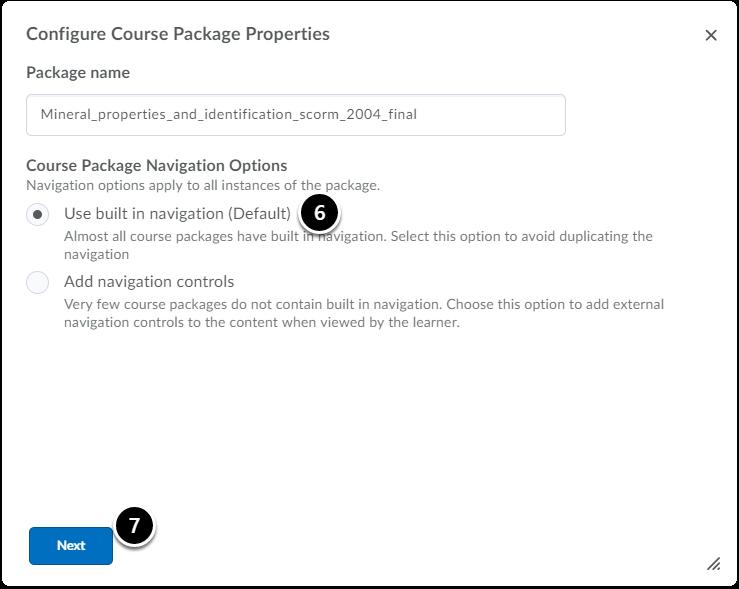 Configure course package properties