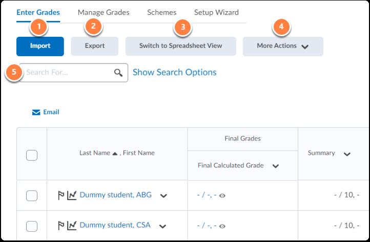 Enter Grades tab