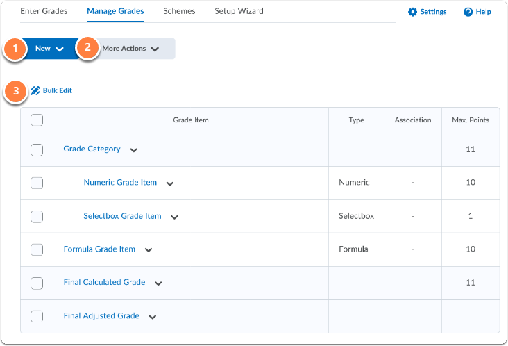 Manage grades homepage