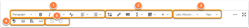 Explanation of the toolbar