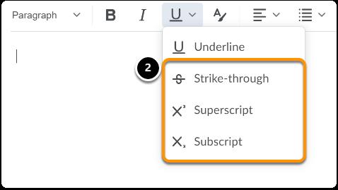 Underline, Strike-through, Superscript and Subscript