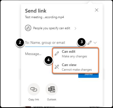 Send link pop-up