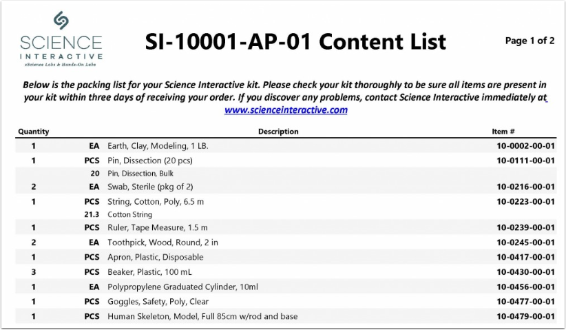 What Should I Expect in My Kit? | Frequently Asked Questions | Using Your SI Lab Kit | TOC | Science Interactive Student Help Guides | ScreenSteps - Google Chrome