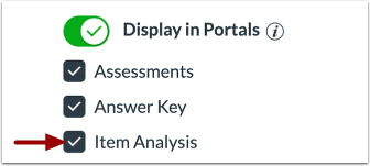 Manage Item Analysis Display in Portal