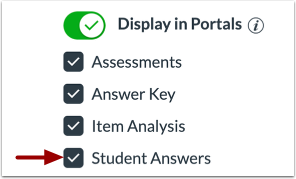 Manage Student Answer Display in Portal