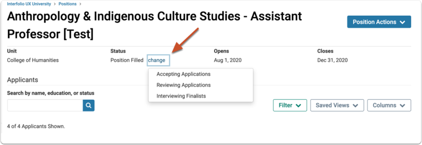Select and apply a new status to reflect that the position has been reopened