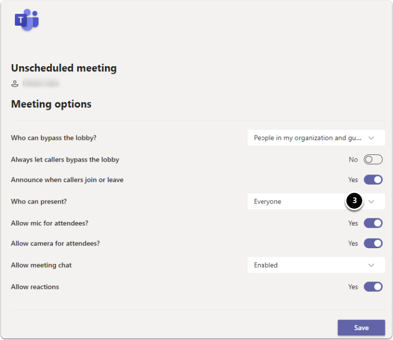 Meeting options - Who can present?