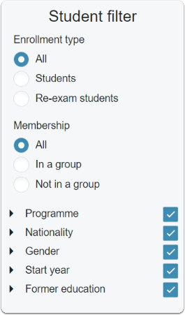 Student filters